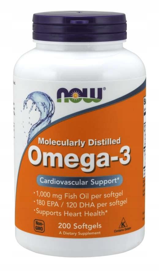 NOW FOODS OMEGA 3 KWASY DHA EPA 1000 mg x 200 kaps