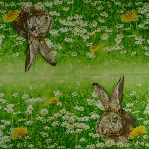 салфетка, салфетки 33х33 2 шт 5128 кролики заяц