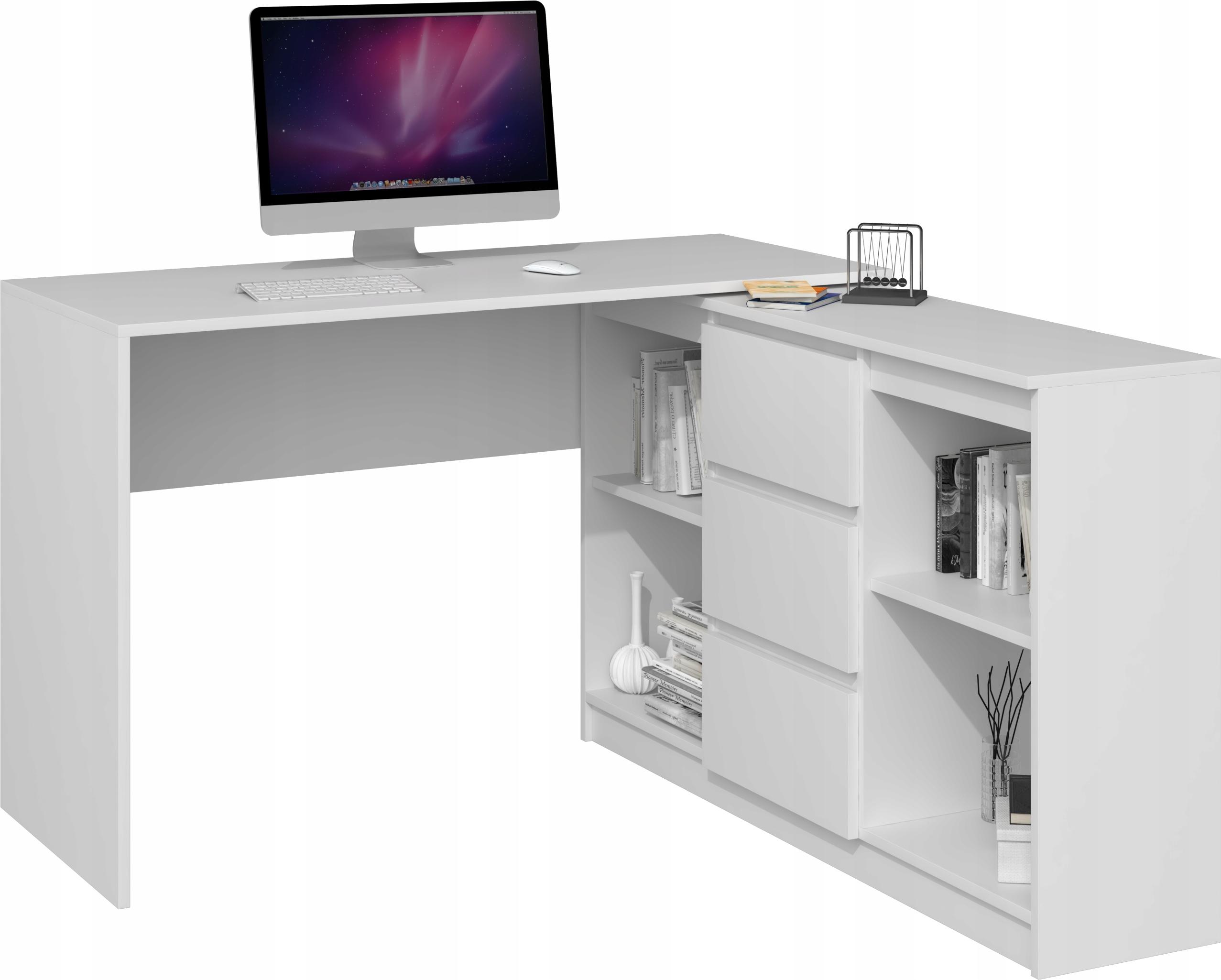 Угловой компьютерный стол, белый комод для ноутбука