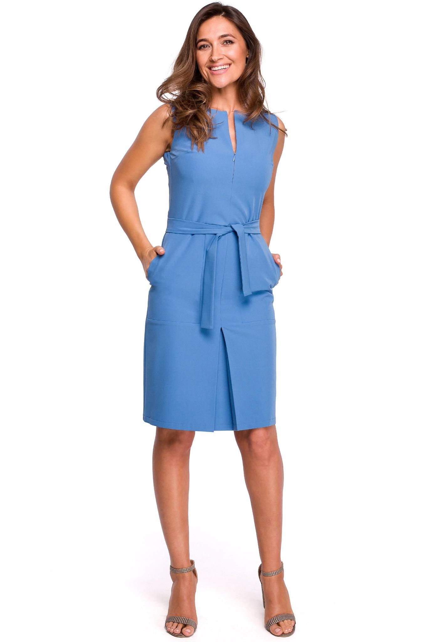 Sukienka Ołówkowa do Pracy Wiązana w Pasie 40 L