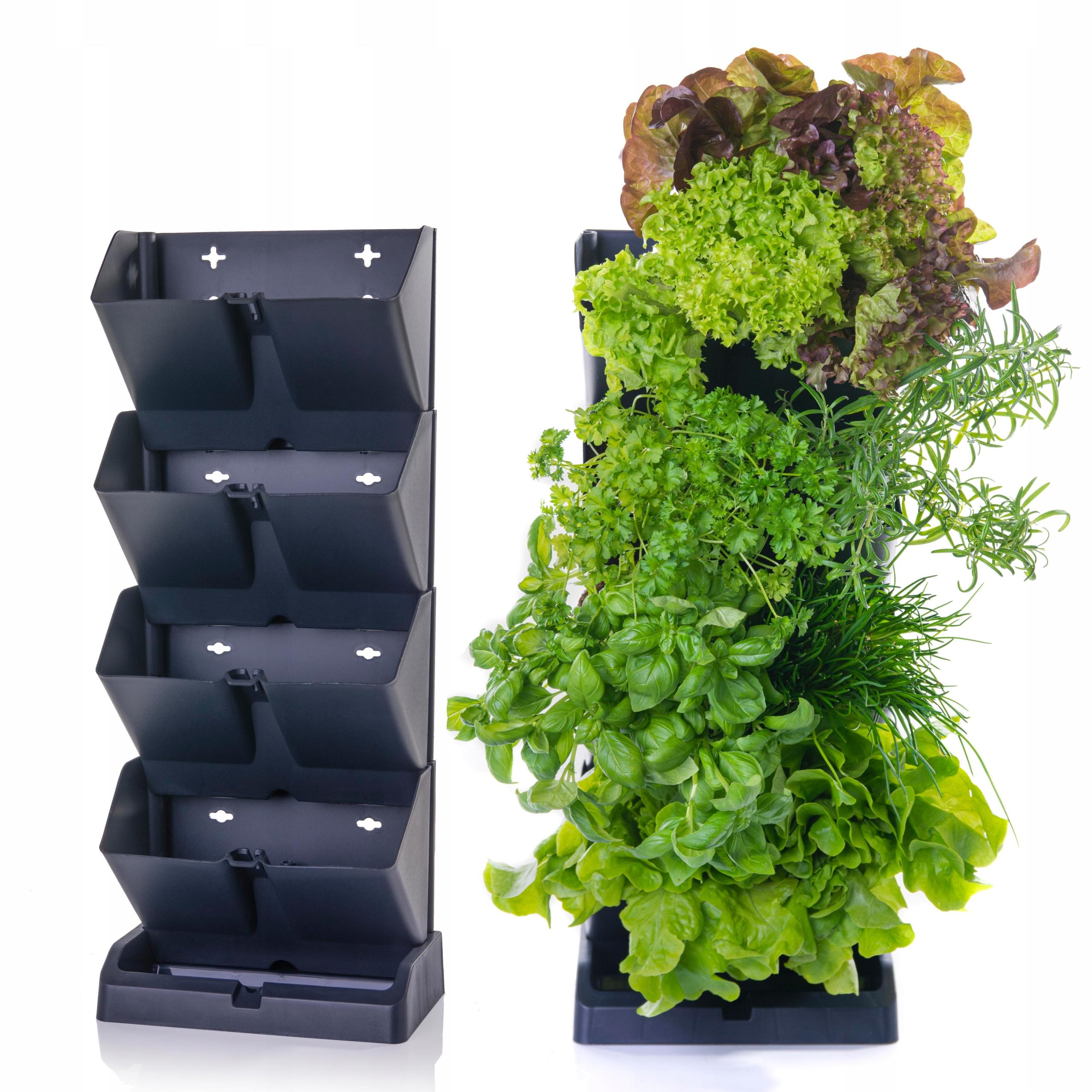 Горшки для трав у стены вертикального садового каскада