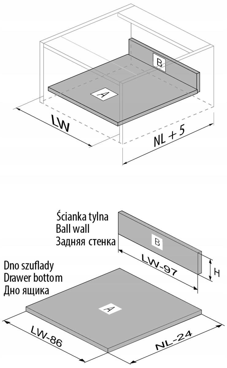 SZUFLADA MODERN BOX 500 WYSOKA SZARY GTV Głębokość mebla 51 cm