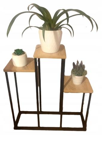 Metal solidny Potrójny Kwietnik loft stojak kwiaty
