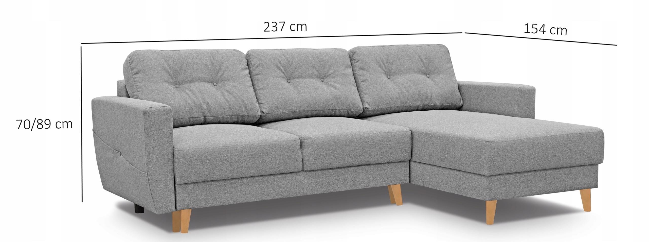 Superkomfortowy narożnik Fray, tkanina Monolith72 Szerokość mebla 237 cm