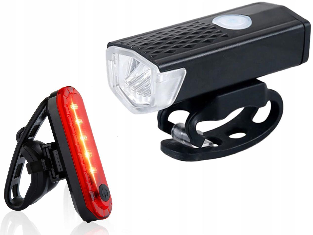 Комплект светодиодов Задний Передний USB Велосипедный фонарь 2 шт.