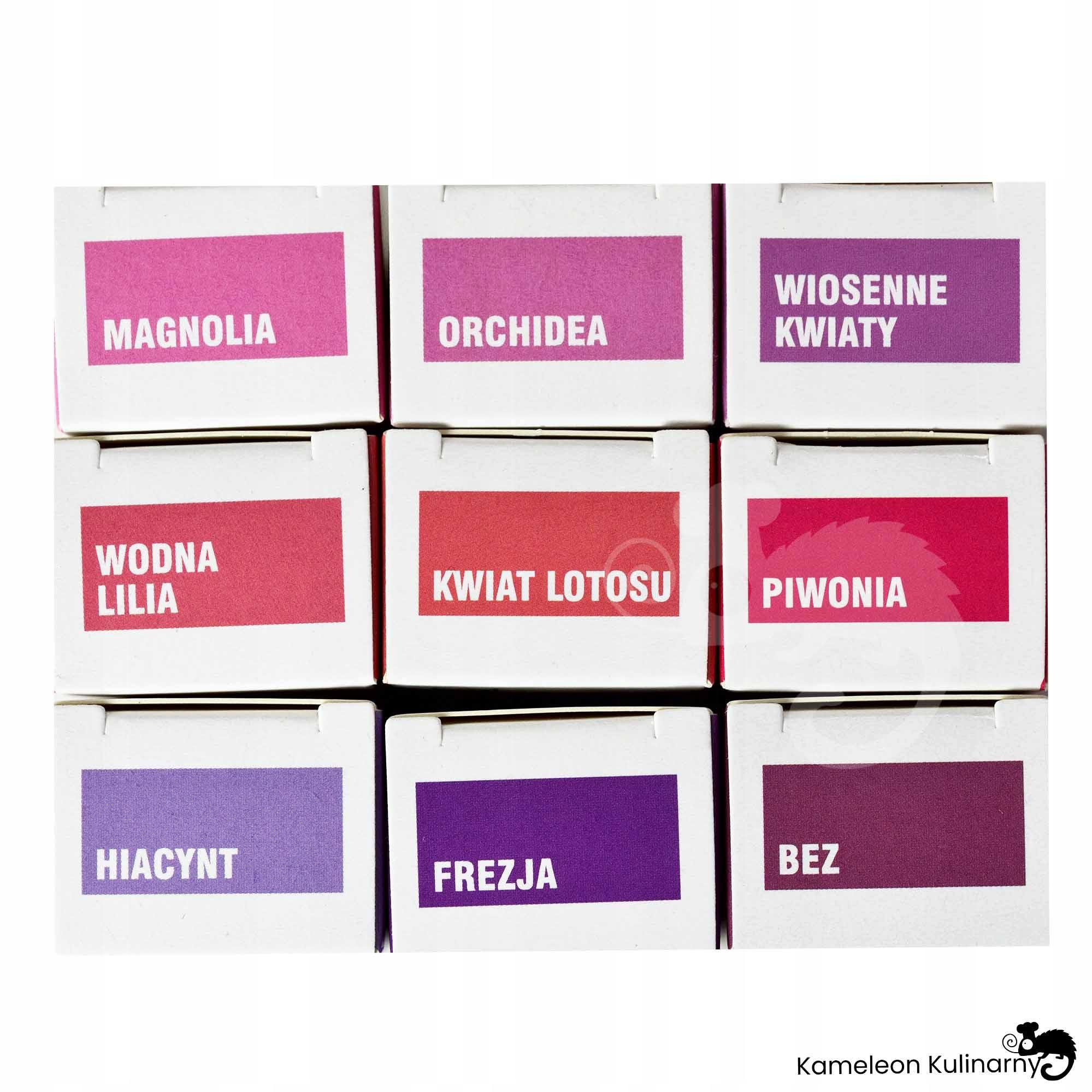 ZESTAW OLEJKÓW ZAPACHOWYCH 9szt fioletowe KWIATY Kod producenta aromaterapia olejek zapachowy ZESTAW