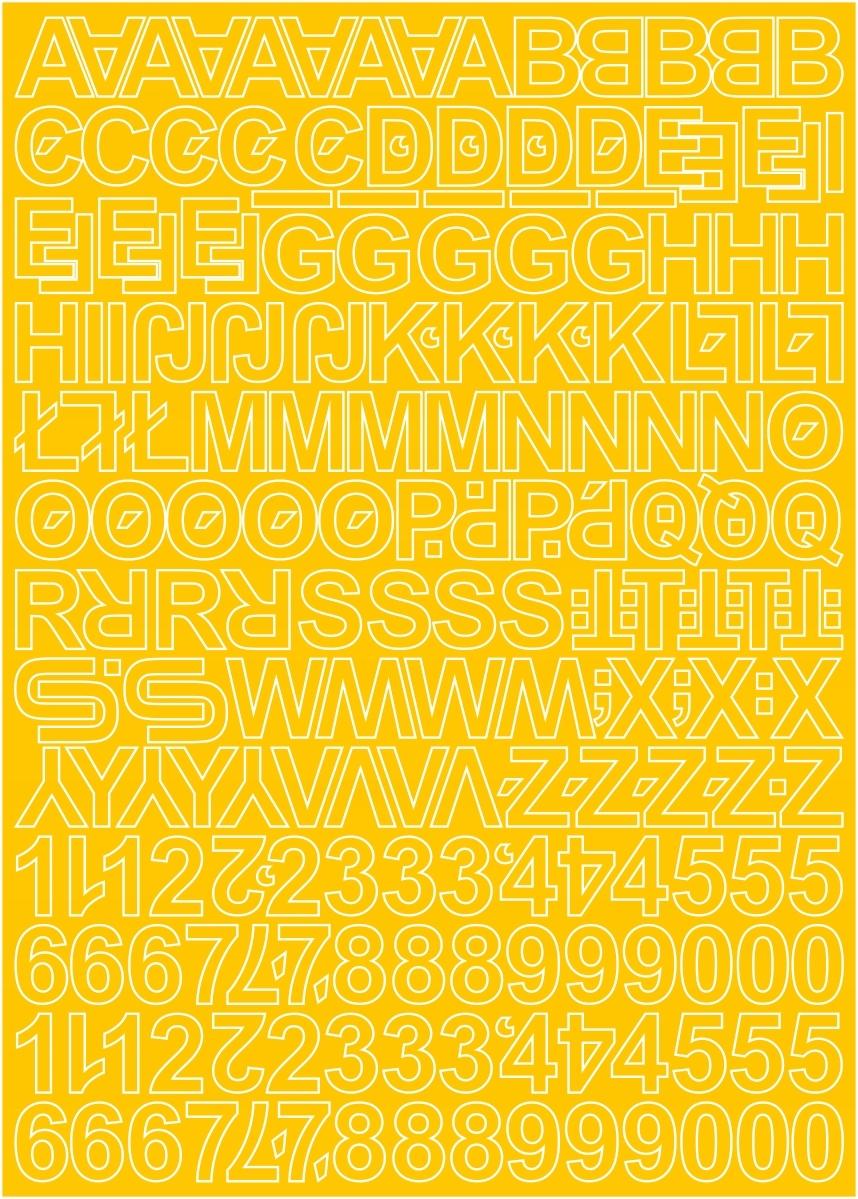 Клейкие буквы и цифры желтые 1,5см 250 знаков.