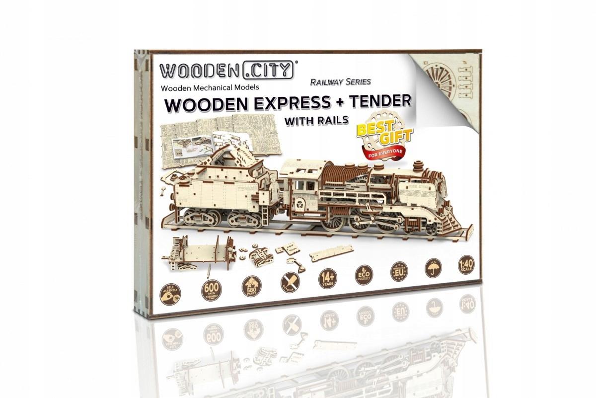 3D logická lokomotíva s rušňovodičom a koľajnicami