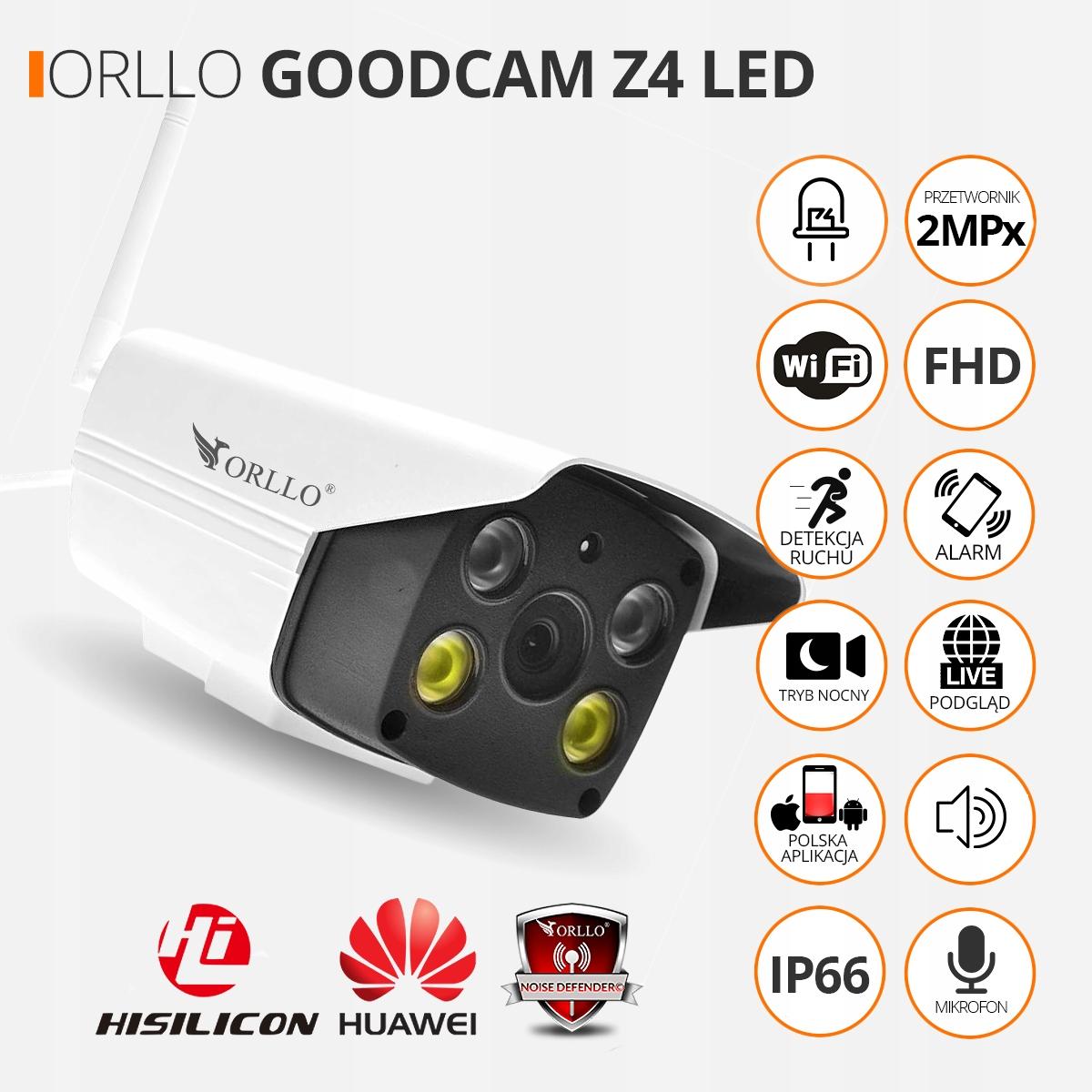 Kamera z Alarmem Zewnętrzna WiFi SYRENA + K. 64 GB Marka Orllo