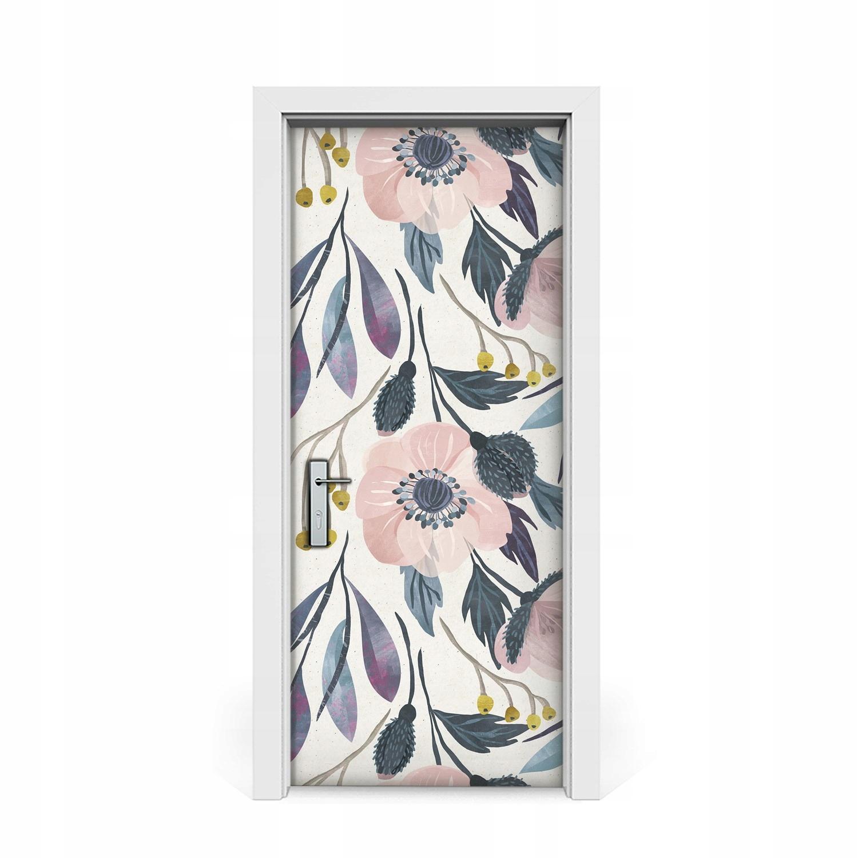 Dvere nálepky Kvetinový maku Vintage 85x205