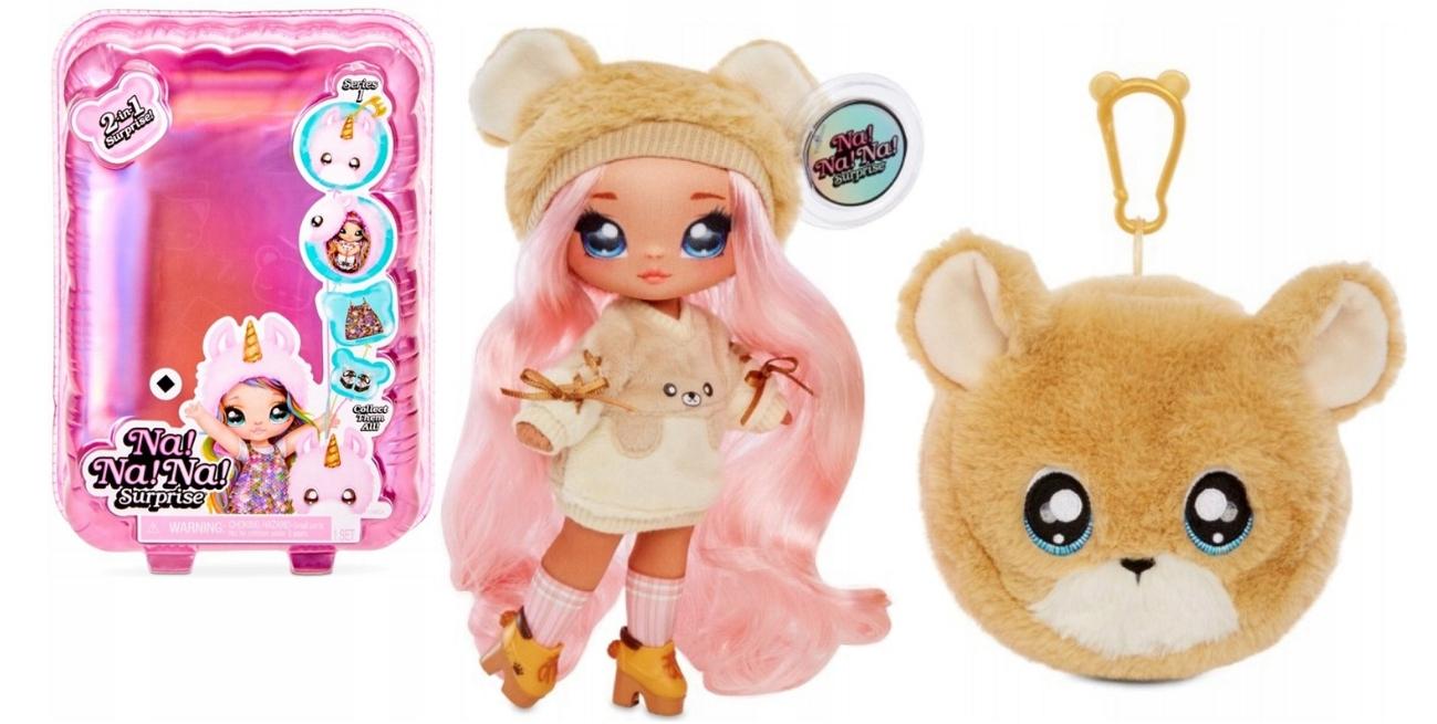 NANANA Prekvapivá bábika Sarah Snuggles plyšového medvedíka