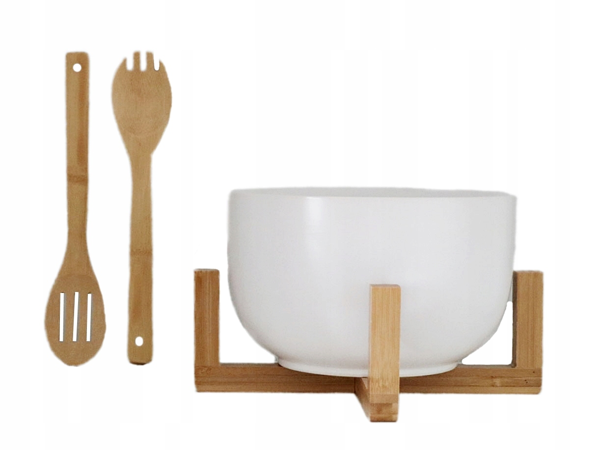 Porcelanowa MISKA na sałatki + bambus kpl 4 el BIG