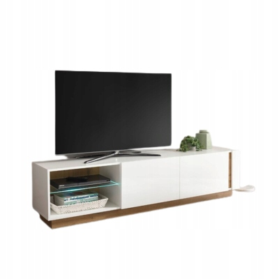 Clair dye белая глянцевая тумба под телевизор, 188 см