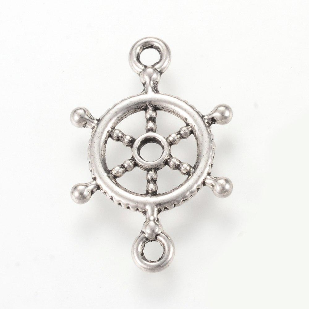 Łącznik ster/koło, srebro antyczne, 15mm, 10 szt.