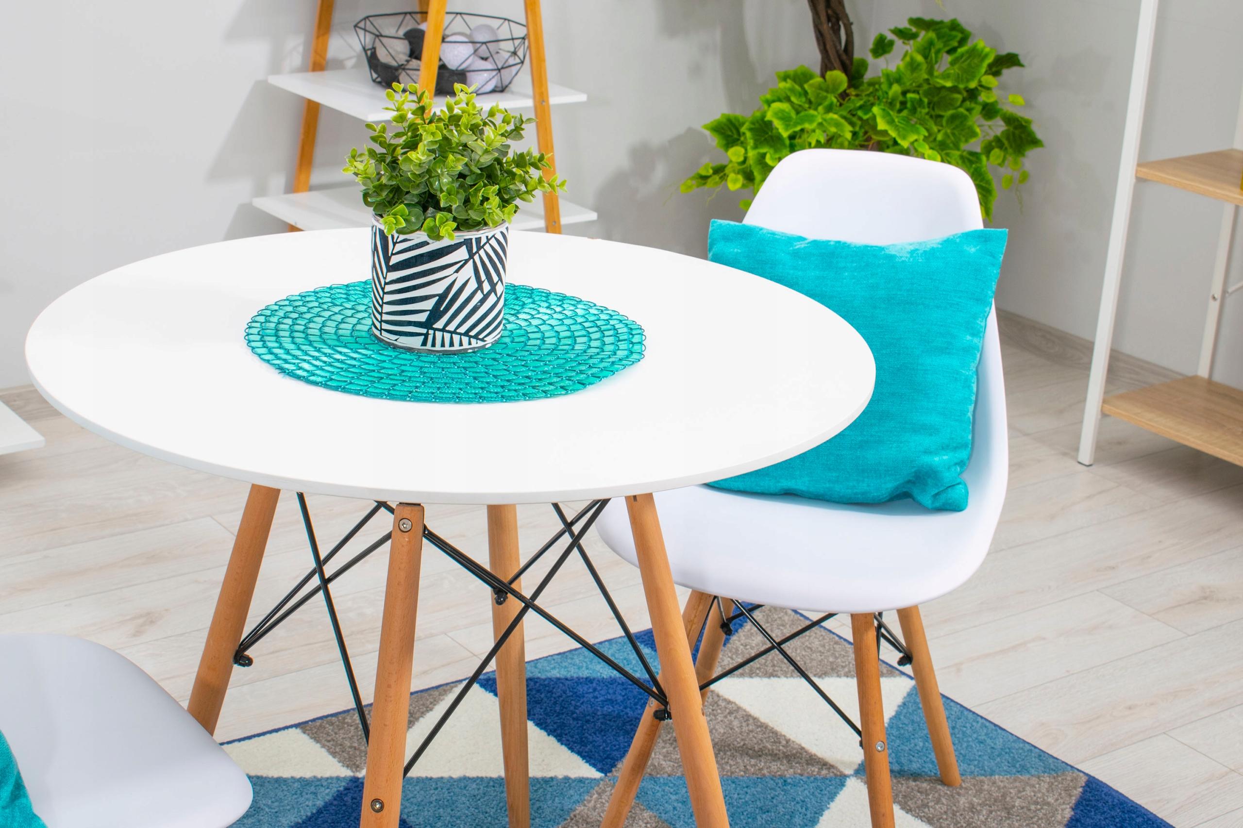 Stół + 4 Krzesła Nowoczesny Skandynawski Styl DSW Szerokość siedziska 46 cm