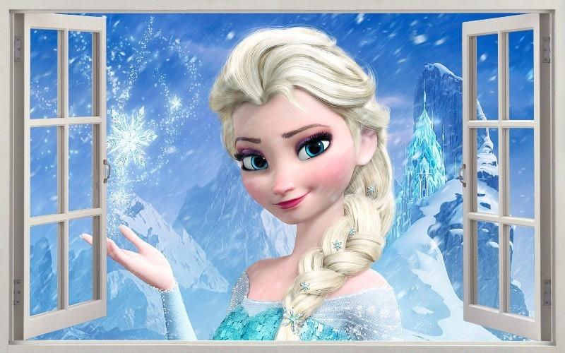 NÁLEPKY NA STENU 3D Frozen Elsa Frozen