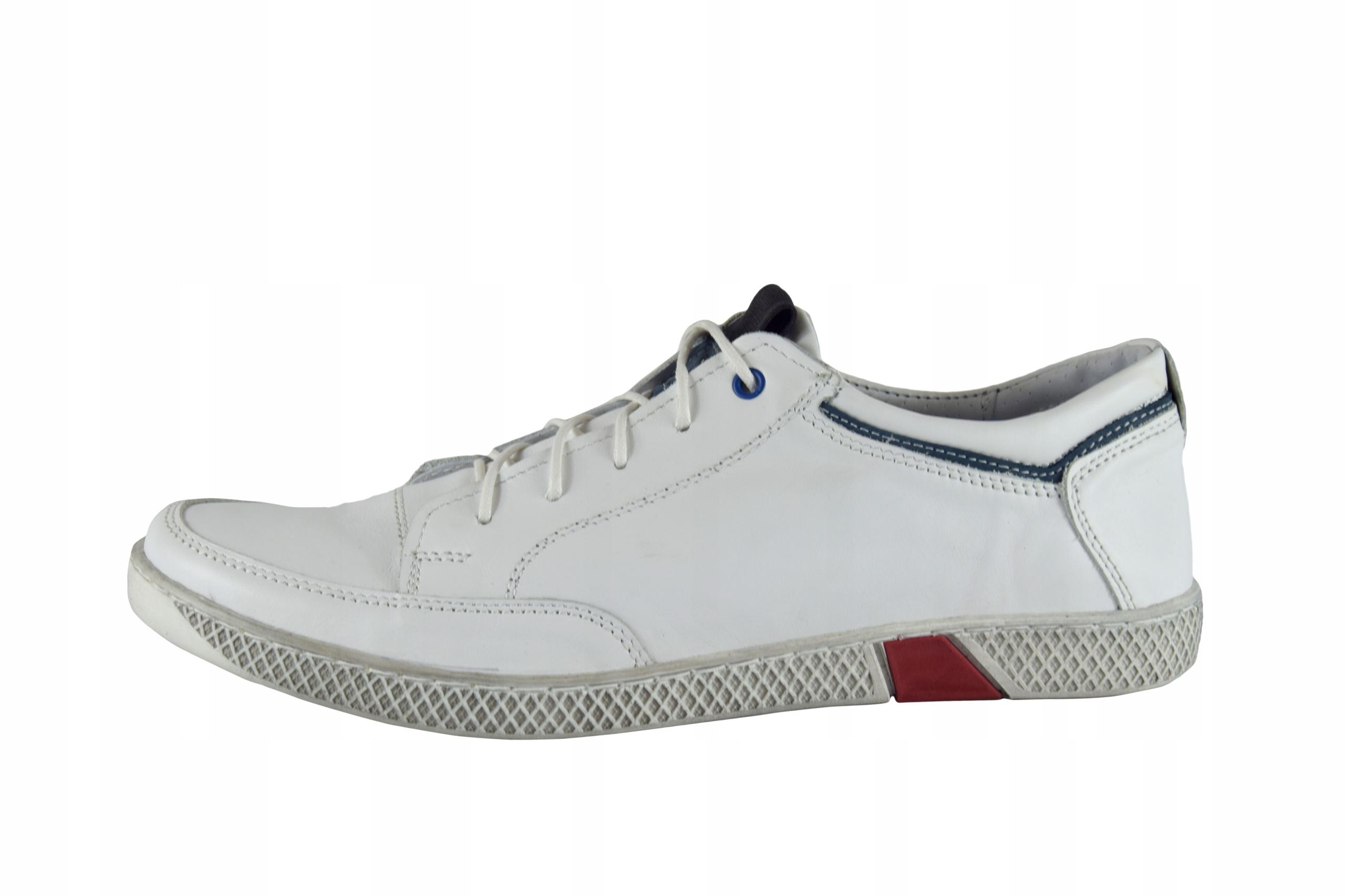 Skórzane męskie białe sznurowane buty męskie 0447