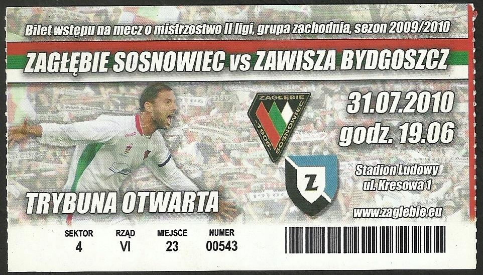 Купить Zagłębie Sosnowiec - Завиша Быдгощ 31 июля 2010 г. на Otpravka - цены и фото - доставка из Польши и стран Европы в Украину.