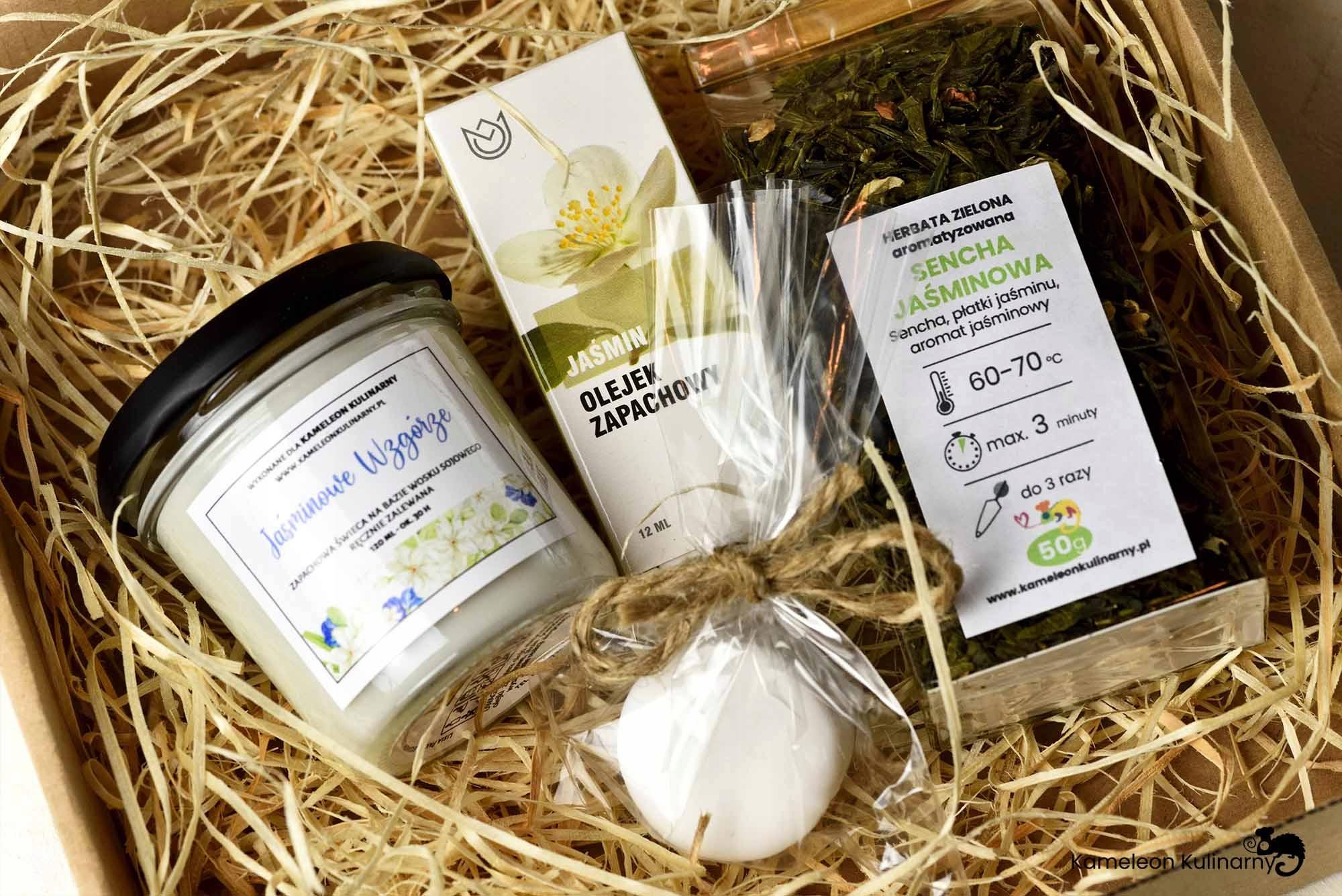 ZESTAW PREZENT świeca herbata olejek mydło JAŚMIN! Nazwa handlowa ZESTAW ŚWIECA + HERBATA + OLEJEK + MYDEŁKO - KAMELEON KULINARNY