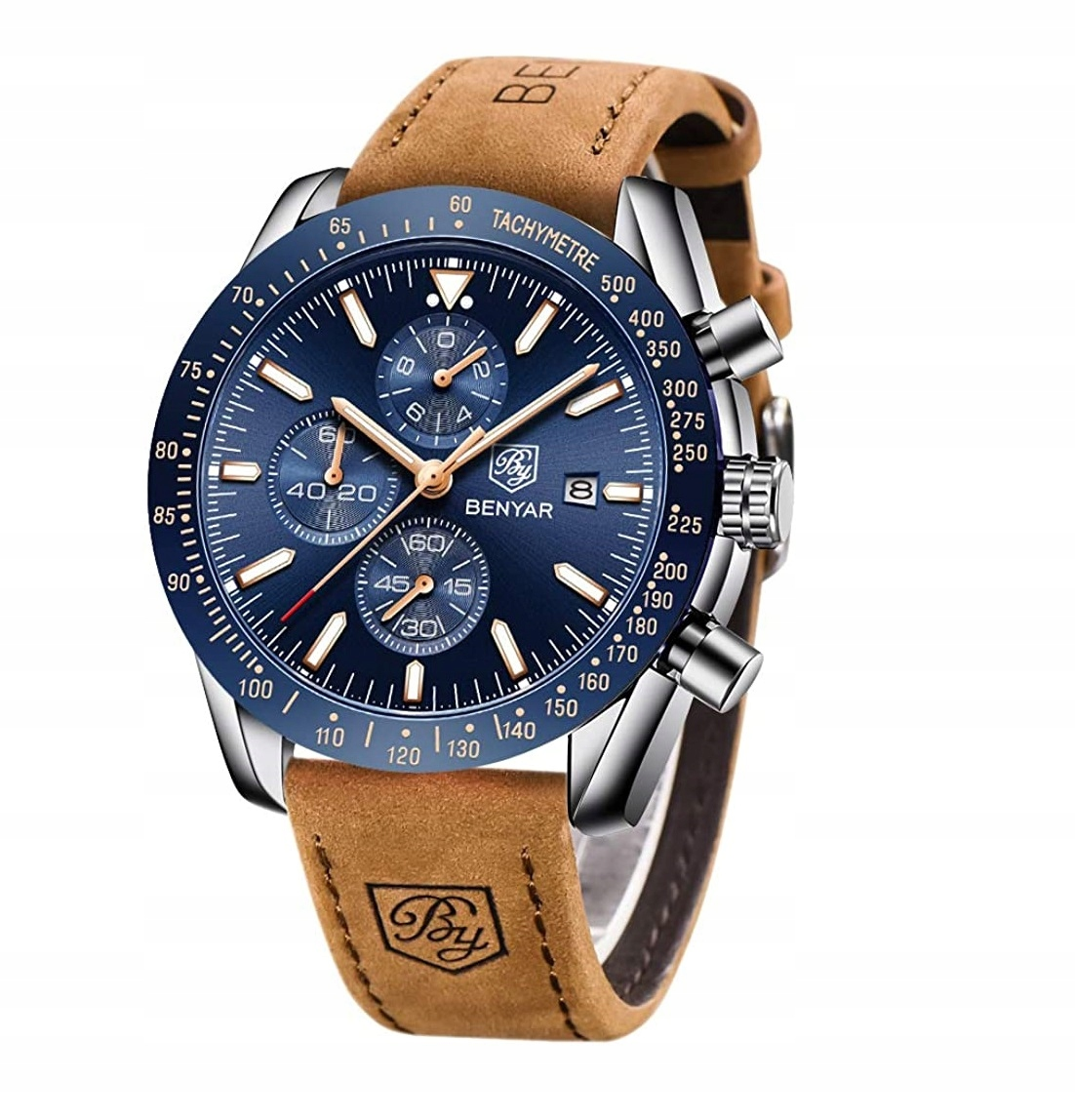 Zegarek Męski Klasyczny Benyar Chronograf +Pudełko
