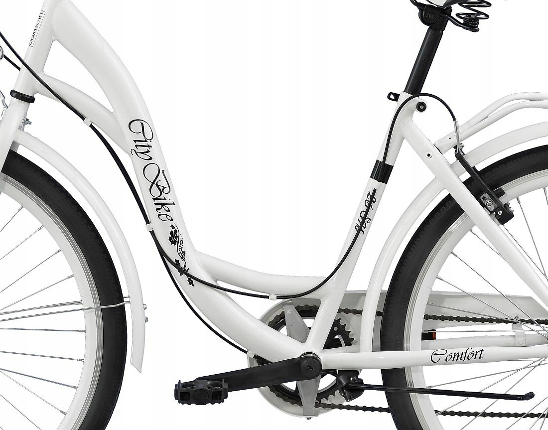 Mestský bicykel Dámsky Citybike 26 palcov, 7 rýchlostí + KOŠÍK Citybike S7B biela