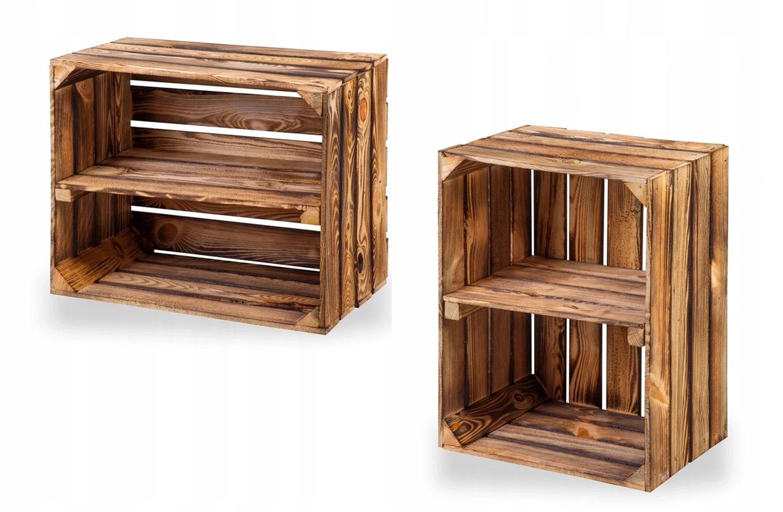 Ящики деревянные с полкой обожженные 50х40х30
