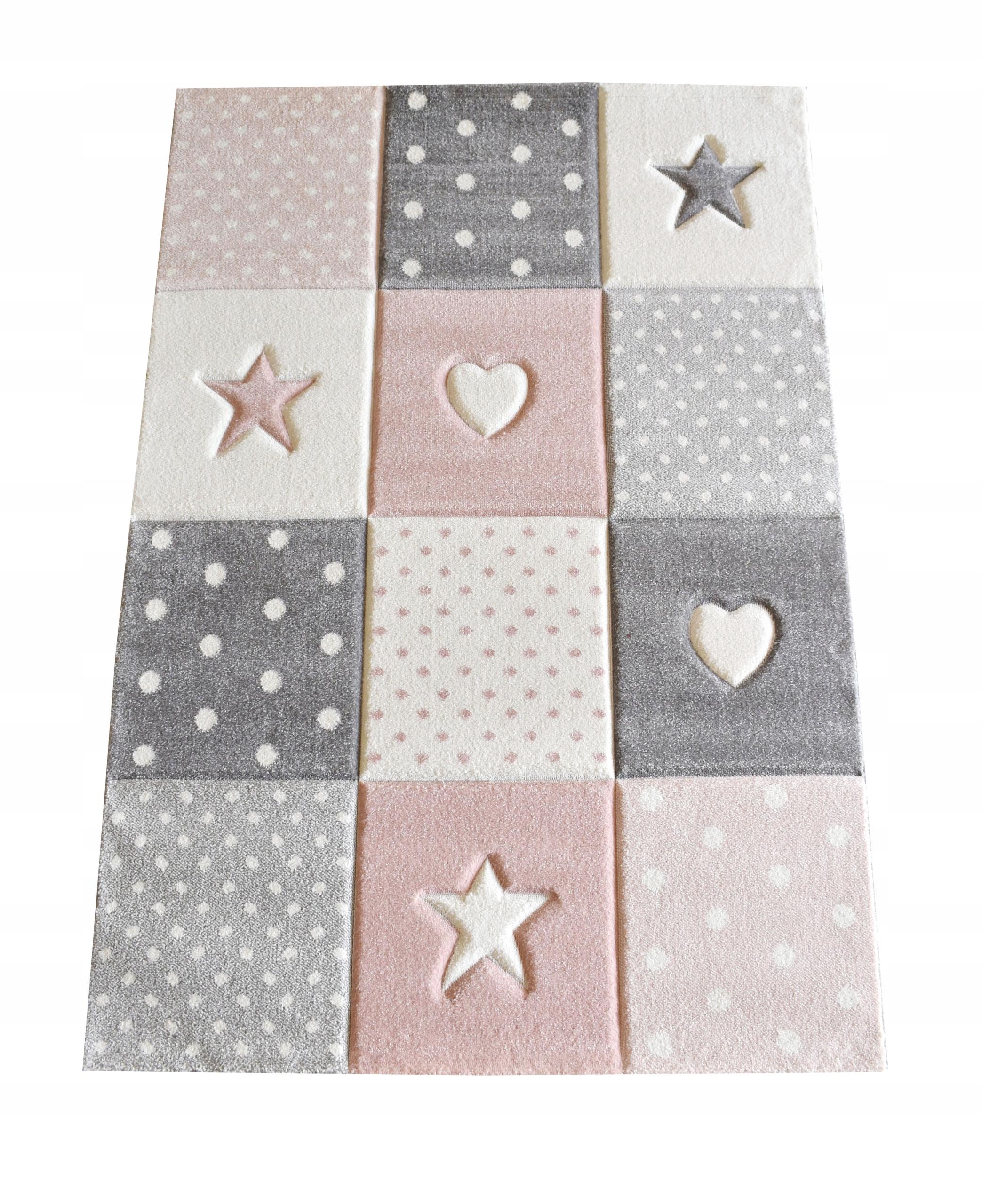 Dywan dziecięcy Kids 3D 120x170 Gwiazdy różowy