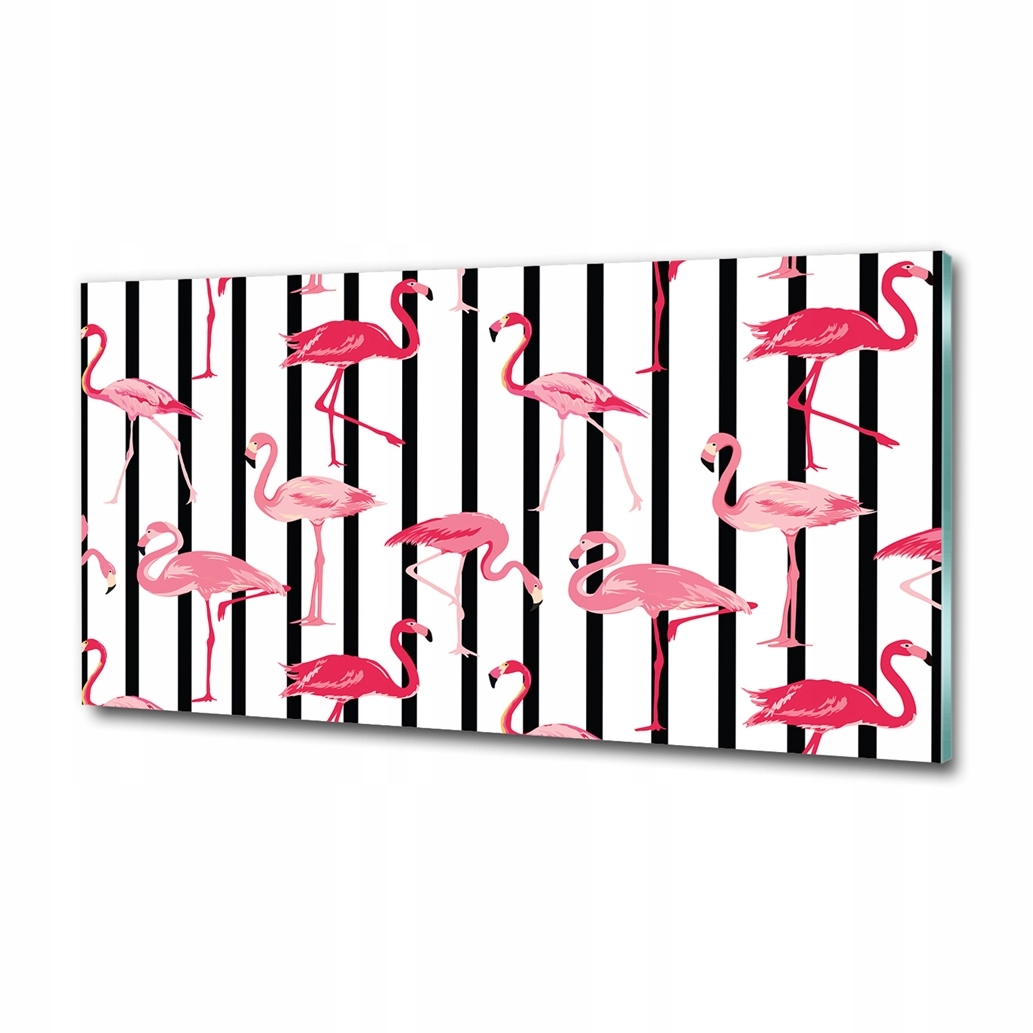 Obraz grafika do salonu duży Flamingi paski