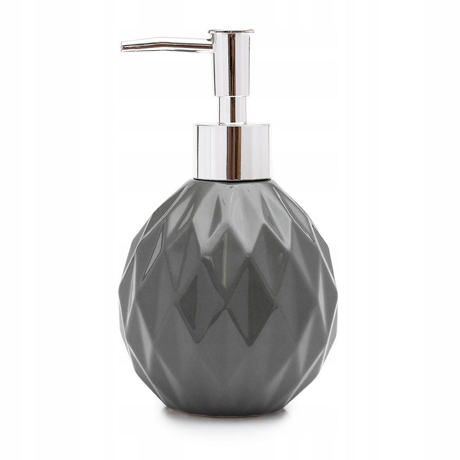 Дозатор для мыла GLAMOUR Ceramic diamonds серый