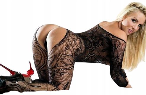 Z DZIURKĄ bielizna erotyczna bodystocking, komplet