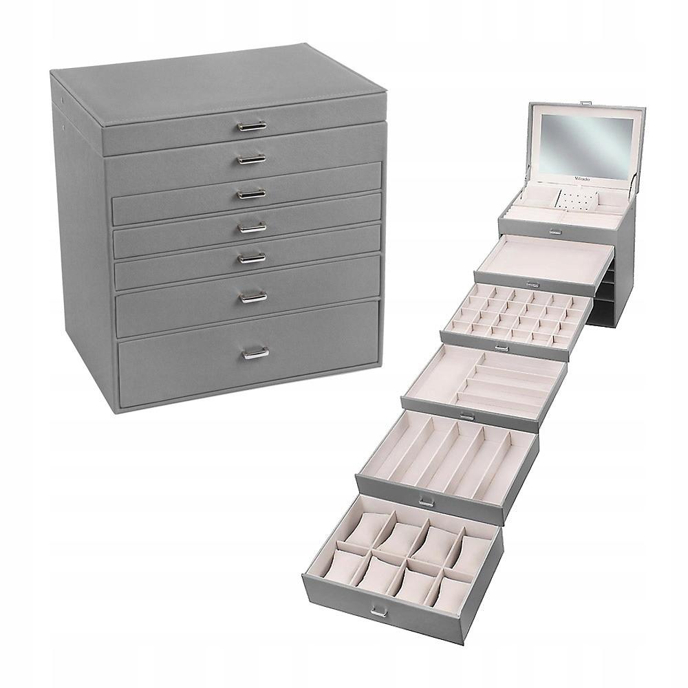 Серый чемодан, шкатулка для украшений, косметика XXL