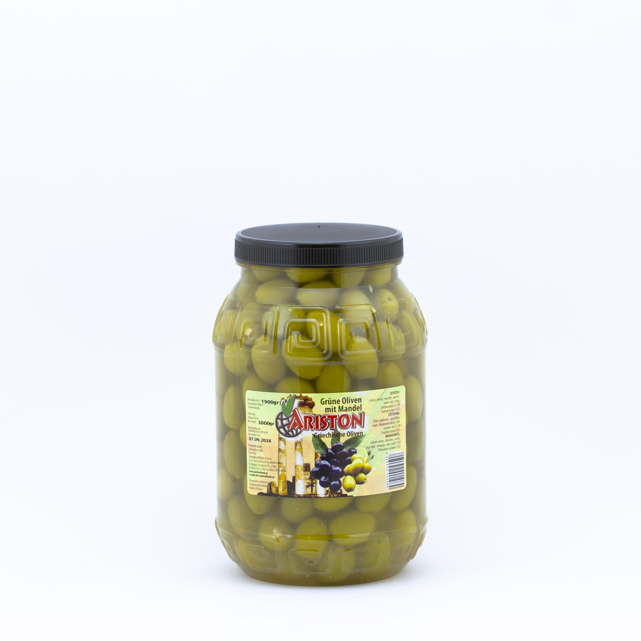 Olivy s mandľami, zelená 1,9 kg netto hmotnosť