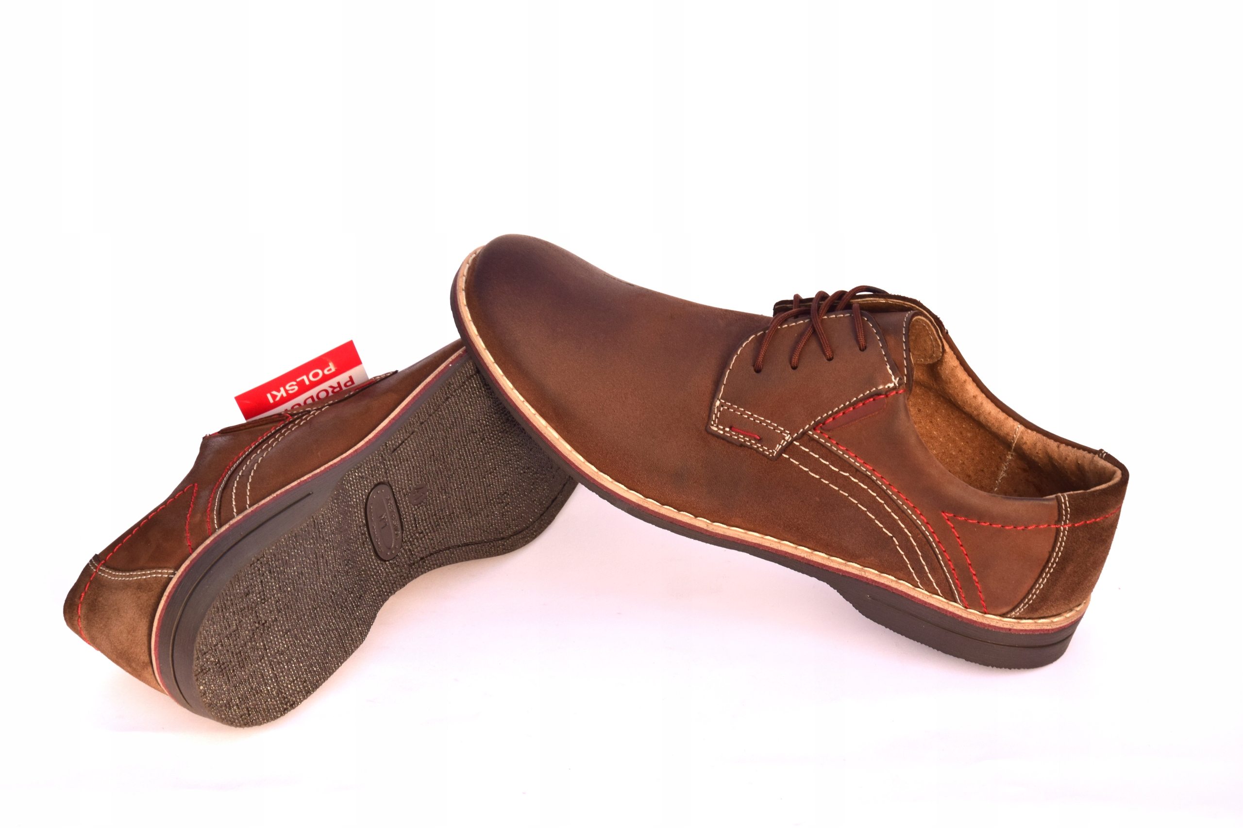 Buty męskie brązowe obuwie skórzane polskie 242 Materiał wkładki skóra naturalna