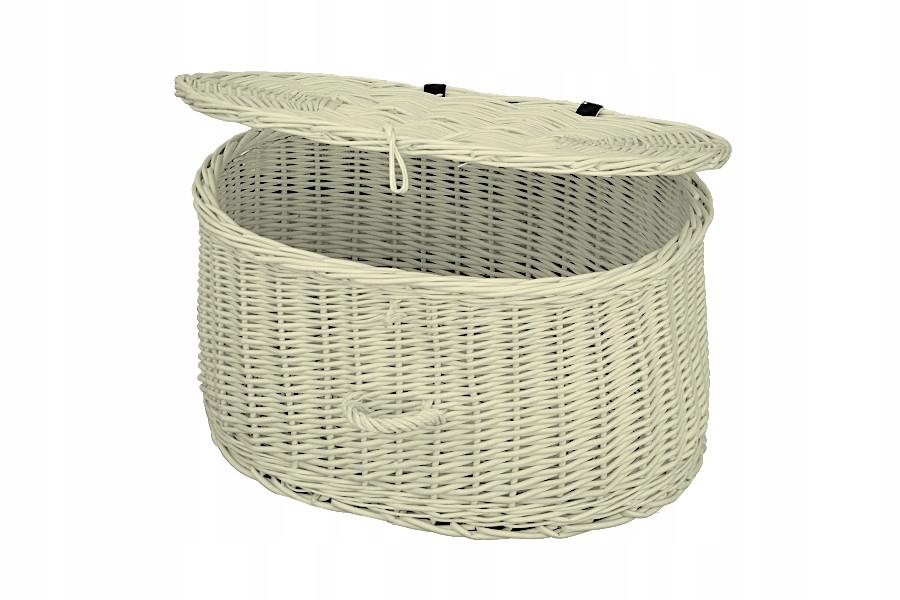 Ящик / контейнер плетеный - белый в полоску