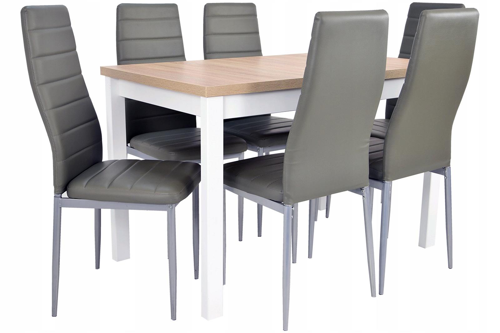160 skladací stôl + 6 stoličiek v popielu STRANE