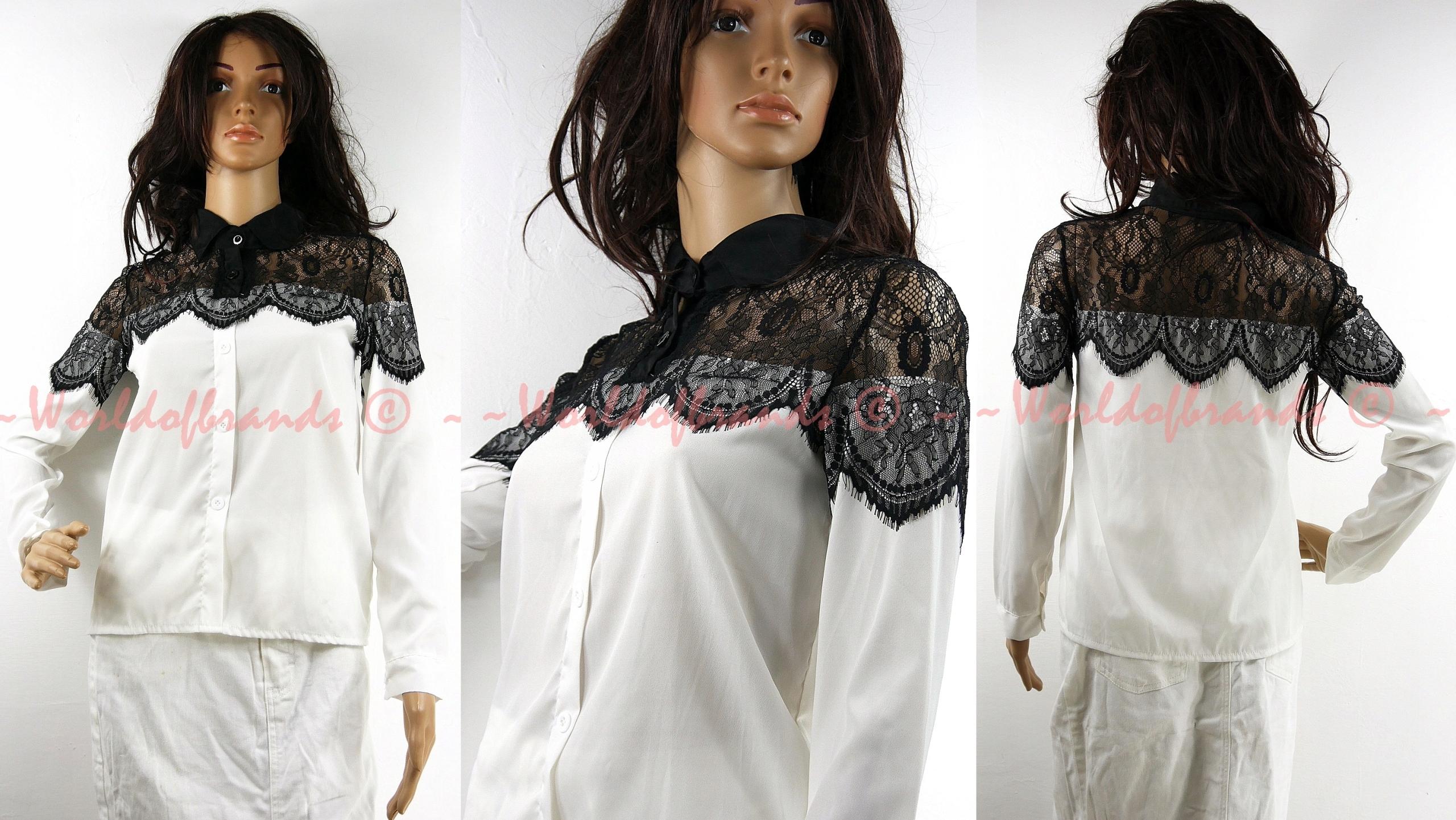 Elegantná čipkovaná košeľová blúzka retro golier