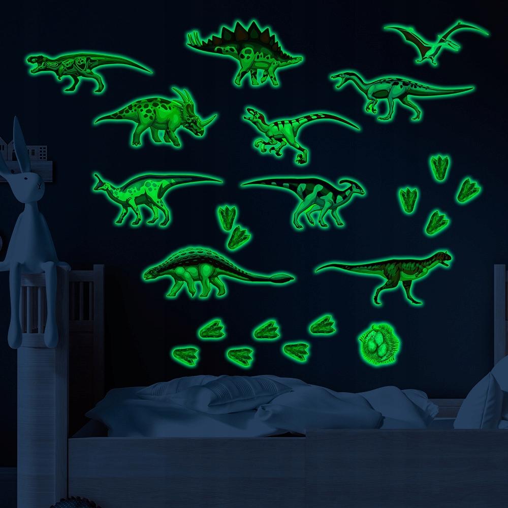 Флуоресцентная наклейка на стену, динозавр