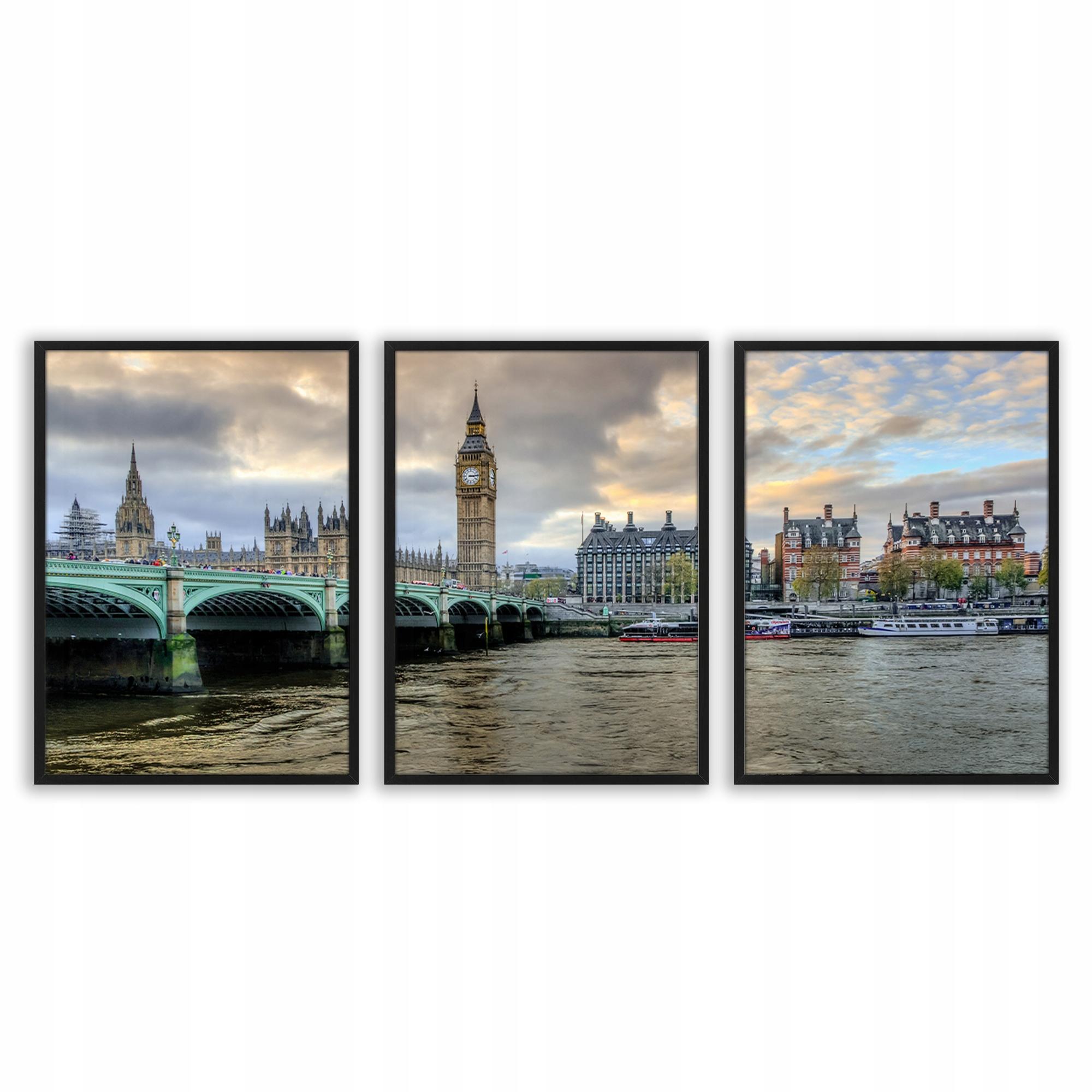Zestaw tryptyk plakaty w ramie obrazy LONDYN RZEKA
