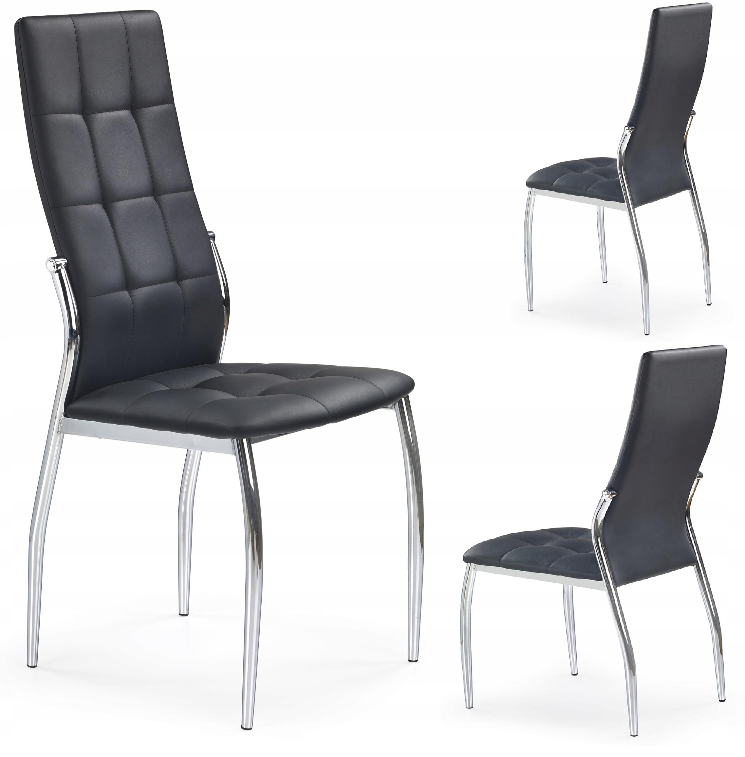 Krzesło K-209 K209 Chrom Eco Skóra Halmar Czarny