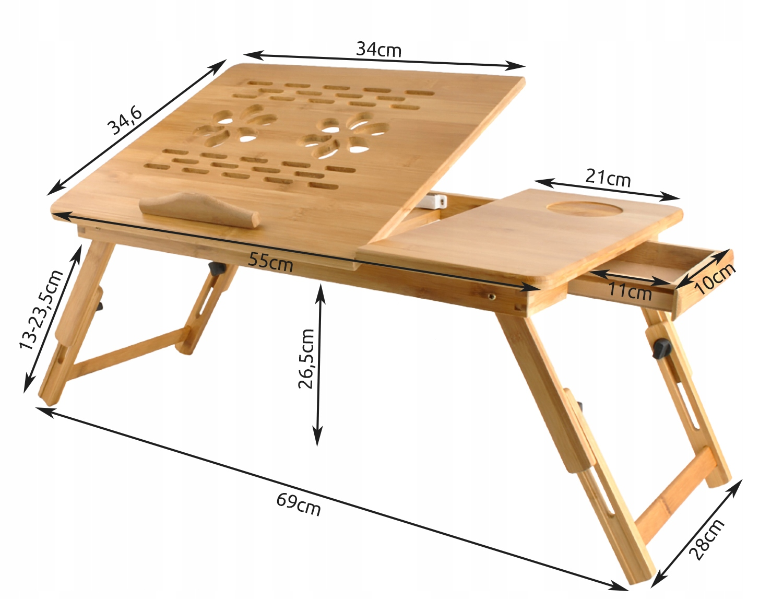 Stolik pod Laptopa do Łóżka Regulowany Drewniany EAN 5900779933033