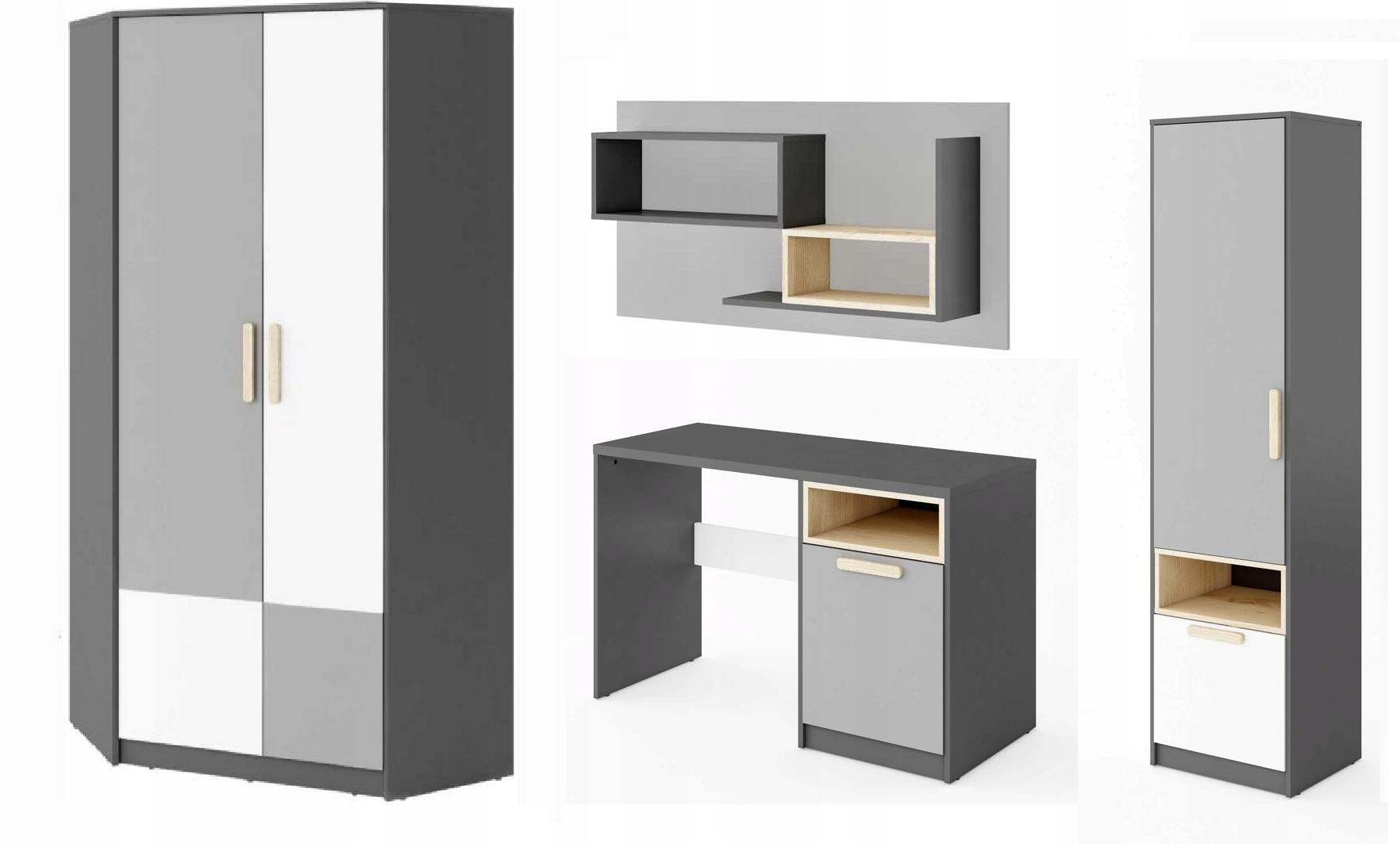 24 HODÍN Váš nábytok set, SPÁLNE, biela, sivá, buk ploche