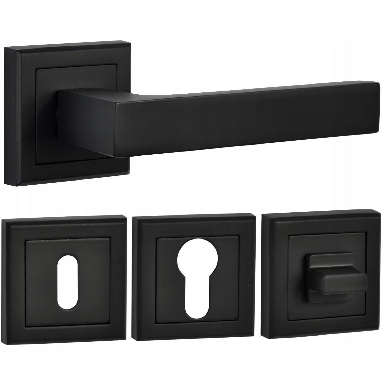 Klamka czarny mat + rozety klucz wkład lub WC HIT!