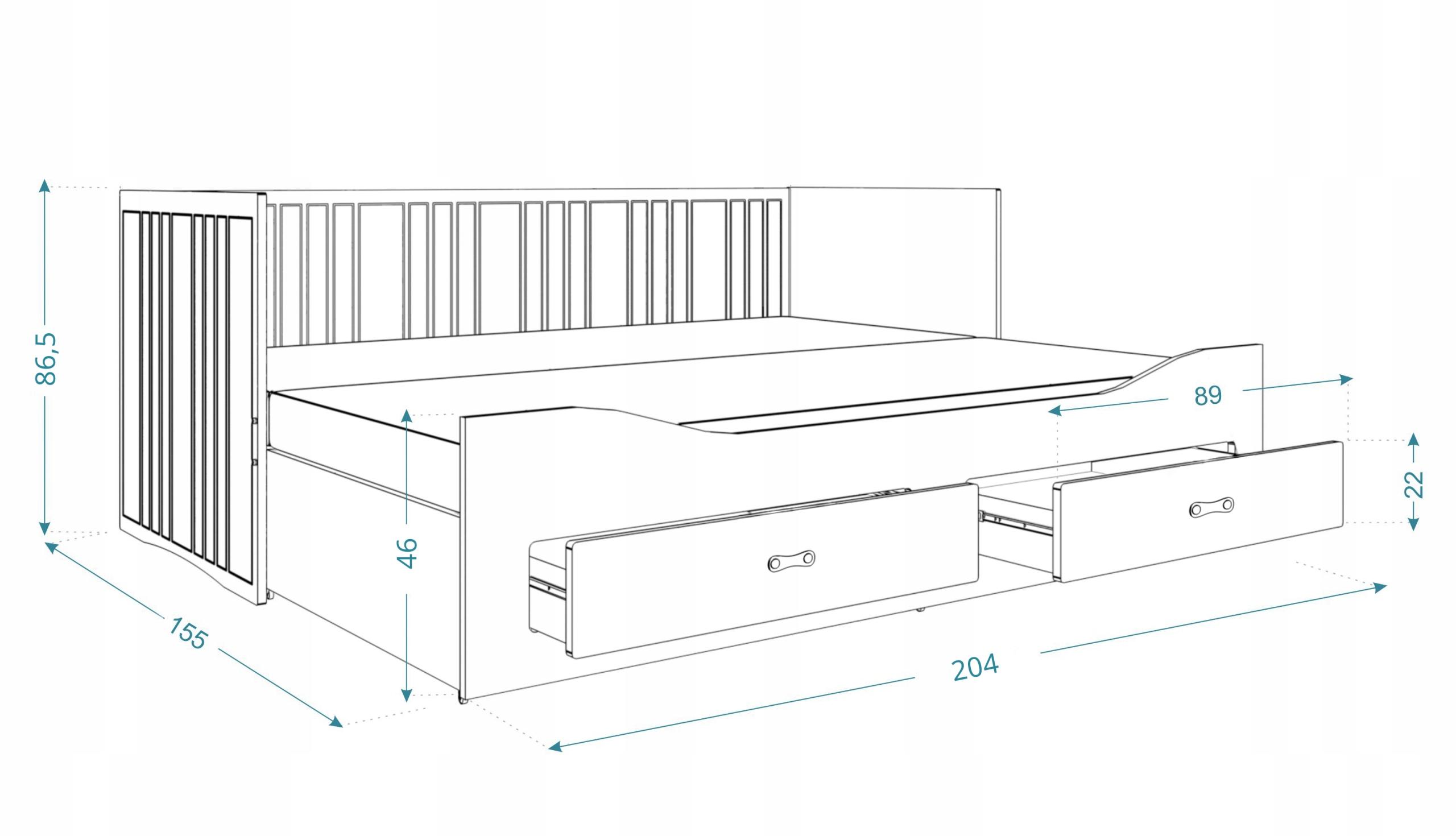Łóżko rozkładane HERMES materace szuflady białe Rozmiar 80x200