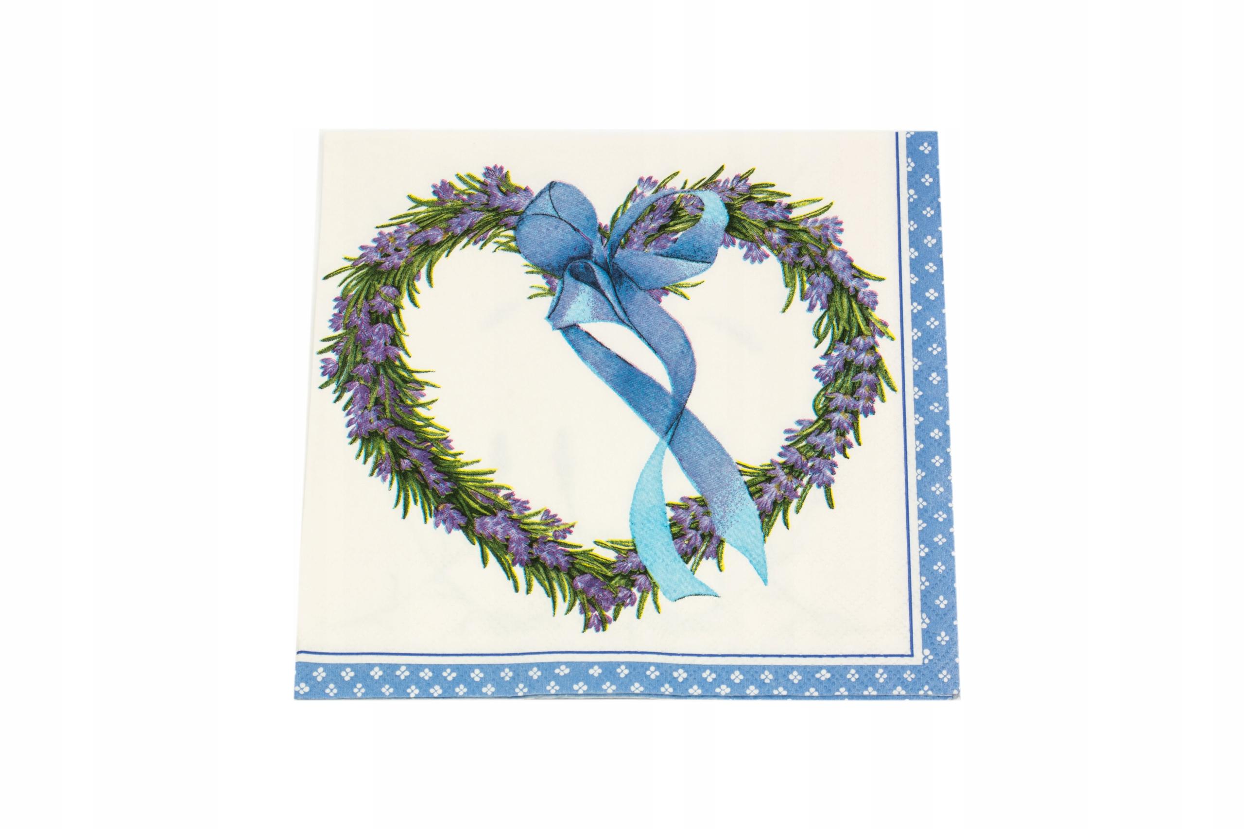Салфетки для декупажа, набор из 3-х Лавандовых сердечек