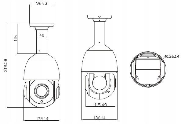 KAMERA OBROTOWA PTZ AHD HD-TVI CVBS 30x ZOOM IR150 Typ kamery czarno-biała kolorowa na podczerwień