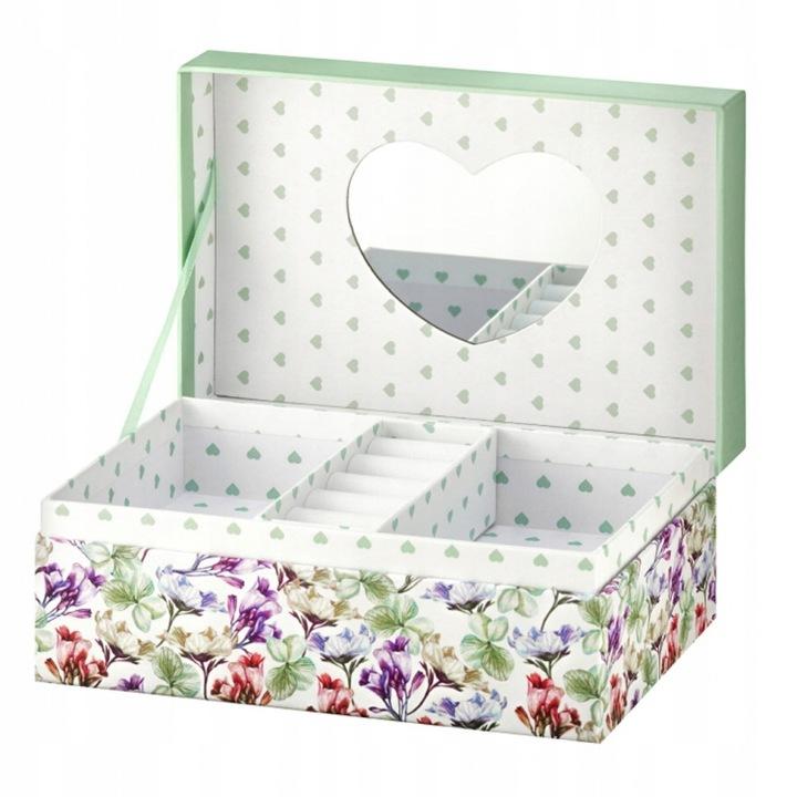 Шкатулка для украшений с зеркалом, сердечки-цветы