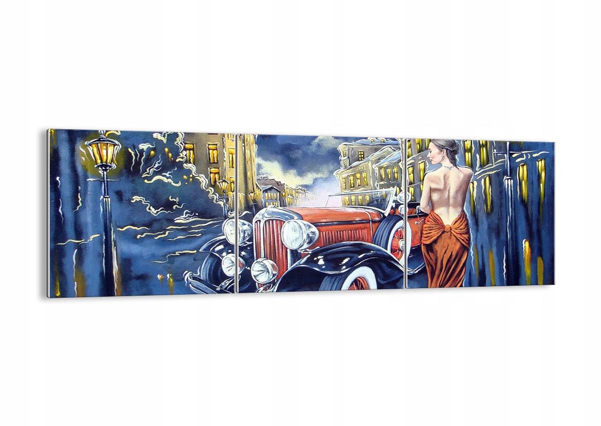 Vzor sklo retro autá žena GCA150x50-3450