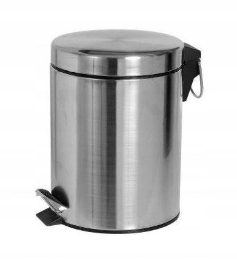 Kúpeľňový odpadkový kôš CHROME 12l s pedálom, kovová kefa