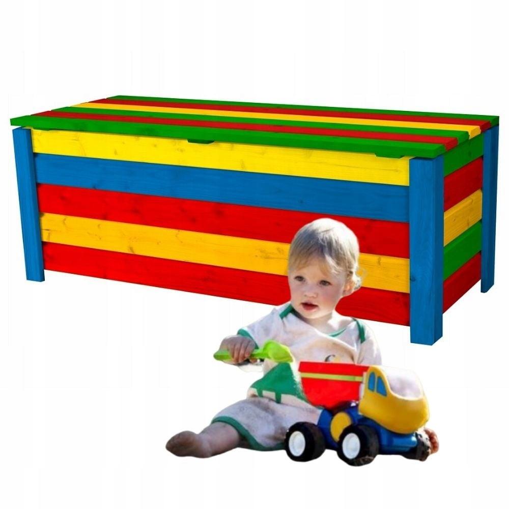 Skrzynia drewniana ogrodowa KUFER na zabawki 120cm