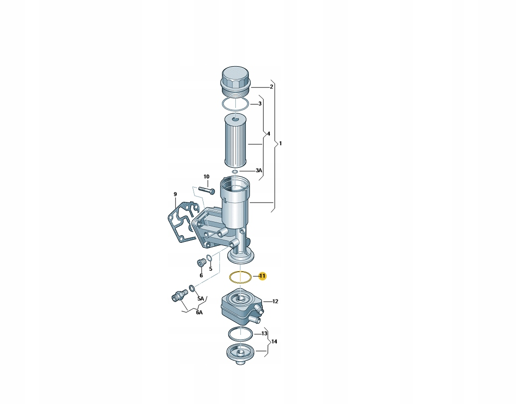 комплект прокладок радиатора масла audi 038117070a